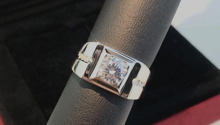 Polish Platinum Diamond Ring